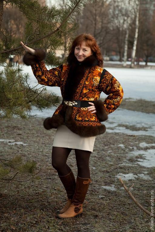 Верхняя одежда ручной работы. Ярмарка Мастеров - ручная работа. Купить Куртка Подсолнухи из павловопосадского платка. Handmade. Разноцветный