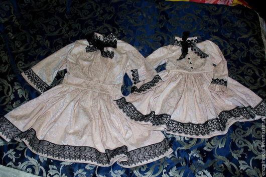Платья ручной работы. Ярмарка Мастеров - ручная работа. Купить Платье для мамочки и дочки. Handmade. Бежевый, кружево, необычный, милый