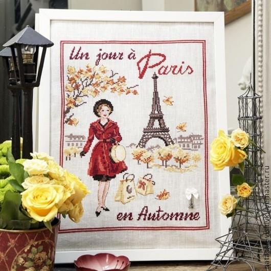 Вышивка ручной работы. Ярмарка Мастеров - ручная работа. Купить Осенний день в Париже для вышивания крестом. Handmade. Разноцветный, лен