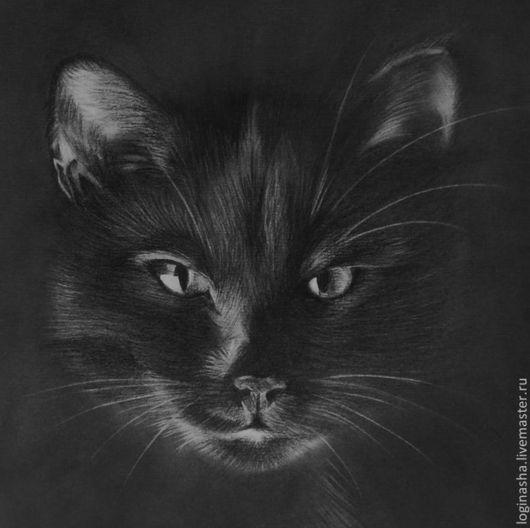 Животные ручной работы. Ярмарка Мастеров - ручная работа. Купить КОТ. Handmade. Черный, карандаш, кот, котик, Кошки