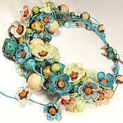 Украшения handmade. Livemaster - original item Notes Sun turquoise. Necklace, earrings, removable floral decor Set. Handmade.