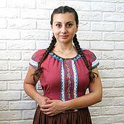 Одежда handmade. Livemaster - original item Summer dress with embroidery linen,cotton. Handmade.