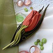 """Украшения ручной работы. Ярмарка Мастеров - ручная работа """"Тюльпан апельсиновый"""" Брошь цветок кожа натуральная. Handmade."""