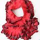 Валяный шарф ручной работы. Красный с серой окантовкой.