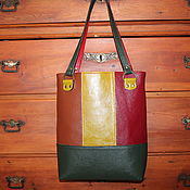 "Сумки и аксессуары handmade. Livemaster - original item Leather colourful tote  bag ""Red green and brown squares"". Handmade."