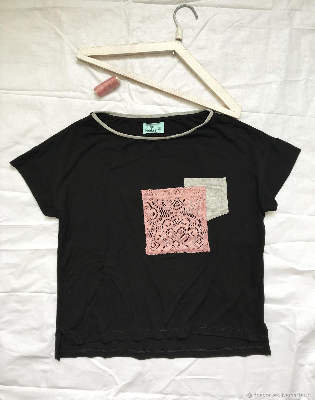 Loose black t-shirt with pockets, T-shirts, Krasnodar,  Фото №1