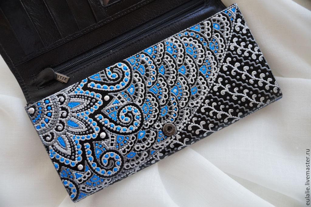 """Купить Кошелек """"Индия"""" - орнамент, кошелек женский, кошелек из кожи, авторская роспись, роспись контурами"""
