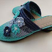 Обувь ручной работы handmade. Livemaster - original item Knitted Slippers-flip-flops on the sole (yarn-cotton ). Handmade.