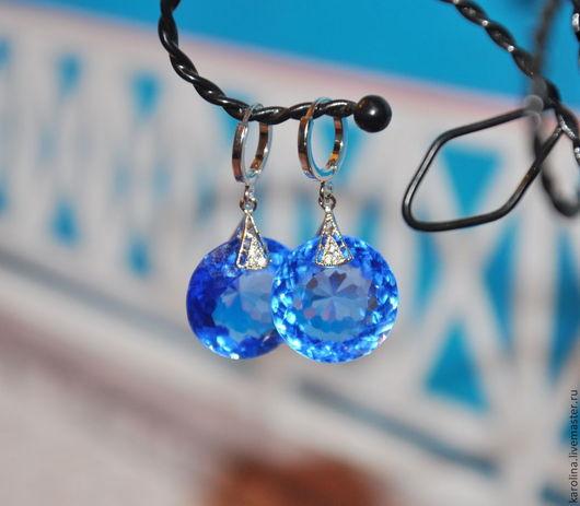 Серьги ручной работы. Ярмарка Мастеров - ручная работа. Купить -15% Серьги Озеро (swiss blue topaz). Handmade. Голубой