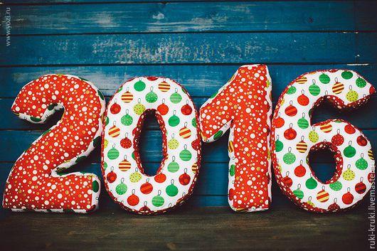 Новый год 2017 ручной работы. Ярмарка Мастеров - ручная работа. Купить Новогодние цифры-подушки. Handmade. Цифры, подушки буквы