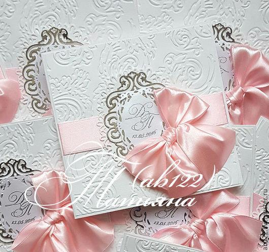 Свадебные аксессуары ручной работы. Ярмарка Мастеров - ручная работа. Купить Приглашения свадебные-розовый с серебром. Handmade. Розовый, пригласительные