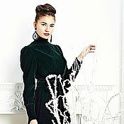 Одежда ручной работы. Ярмарка Мастеров - ручная работа бархатное платье темно зеленого цвета. Handmade.