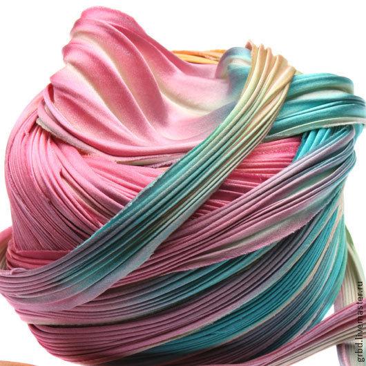Для украшений ручной работы. Ярмарка Мастеров - ручная работа. Купить Шелковая лента Шибори (Shibori) цвет Ecru Borealis. Handmade.