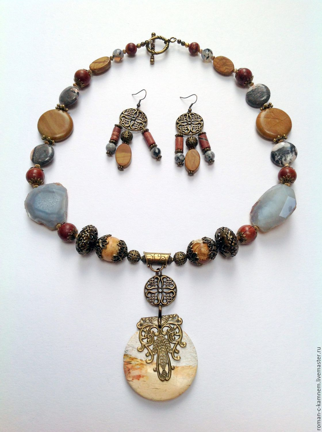 Necklace made of natural stones ethnic design boyar. The author's work. Handmade ethnic necklace.