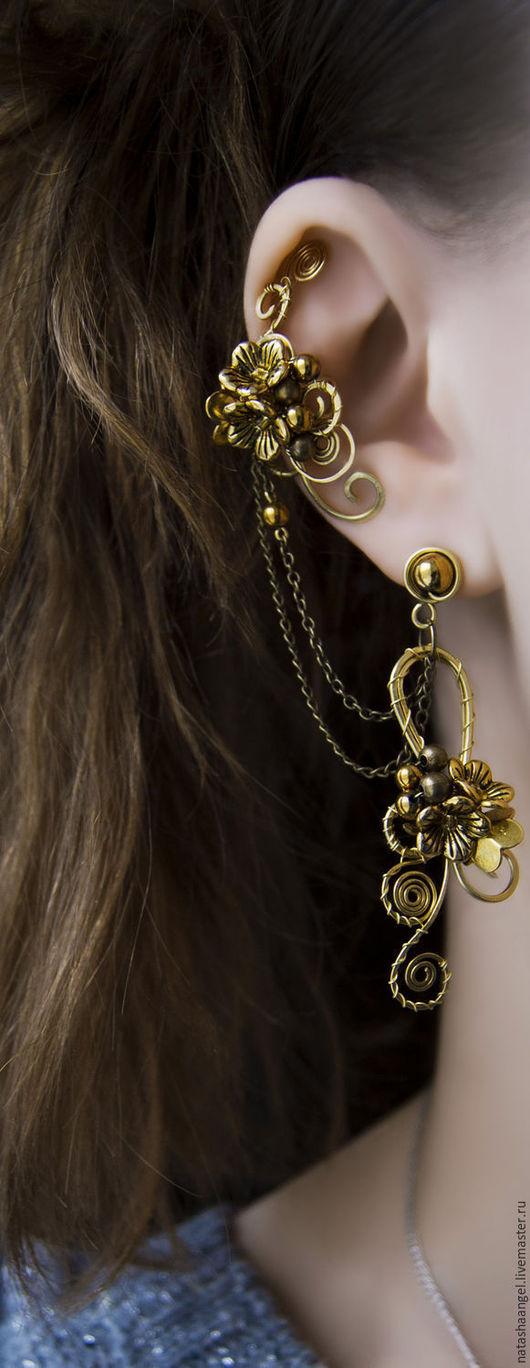 """Каффы ручной работы. Ярмарка Мастеров - ручная работа. Купить Кафф и бронзовые серьги """"Золотые соцветия"""" (бронзовый цвет, золотой). Handmade."""