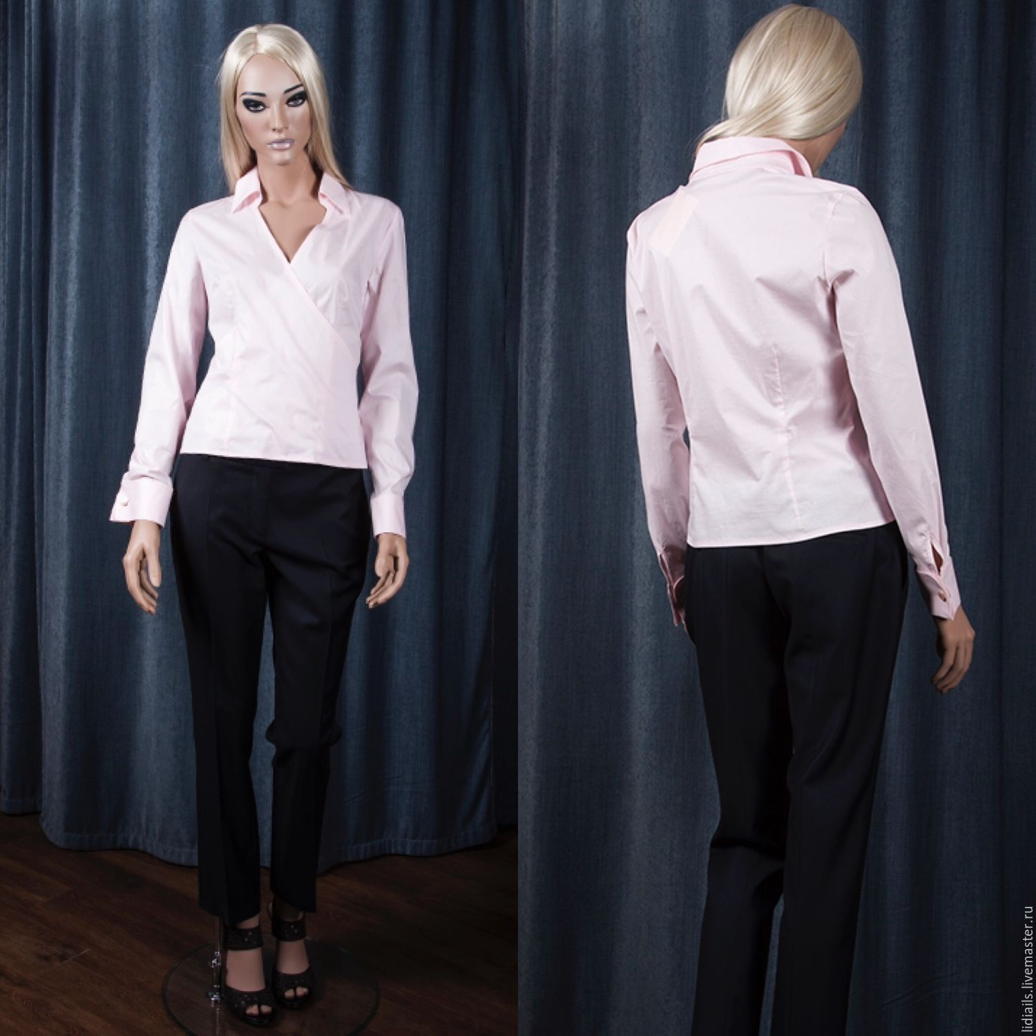 Pink blouse in the Japanese style with the smell, Blouses, Nizhny Novgorod,  Фото №1