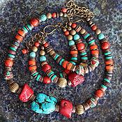 Украшения handmade. Livemaster - original item Necklace and bracelet route to Tibet, coral, turquoise, ethnic, kit. Handmade.