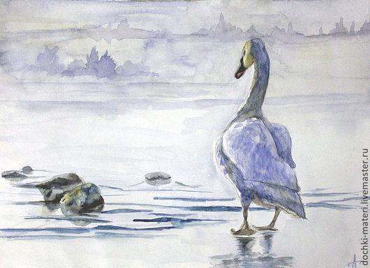 """Животные ручной работы. Ярмарка Мастеров - ручная работа. Купить акварель """"Одинокая"""". Handmade. Голубой, лебедь, верность, озеро, туман"""