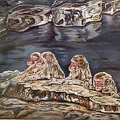 """Картины и панно ручной работы. Ярмарка Мастеров - ручная работа Картина """"Обезьяны на горячих источниках"""". Handmade."""