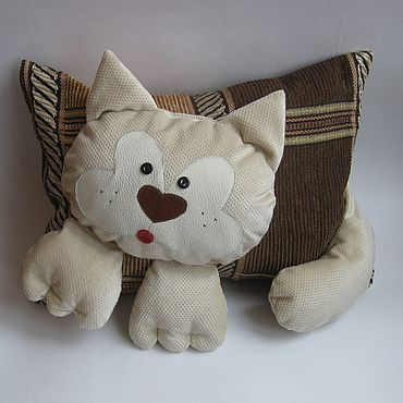 For home and interior handmade. Livemaster - original item Pillow - toy cat beige for children as a gift. Handmade.