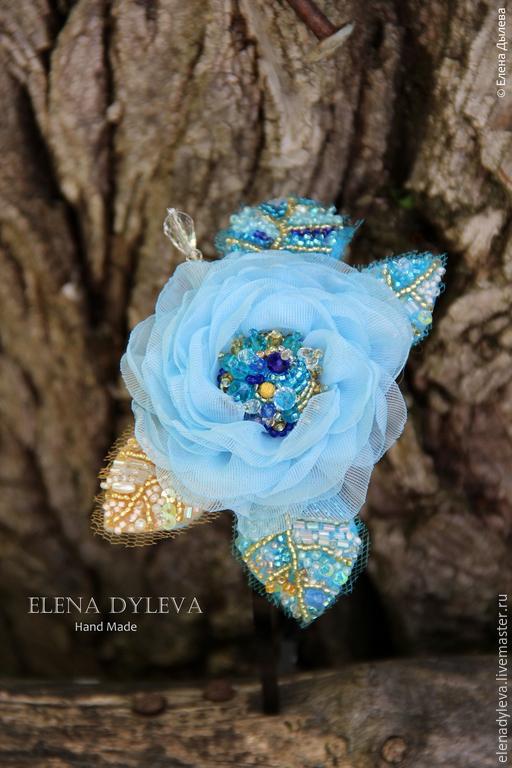 """Диадемы, обручи ручной работы. Ярмарка Мастеров - ручная работа. Купить Ободок голубой """" Роса с небес"""". Handmade. Голубой"""