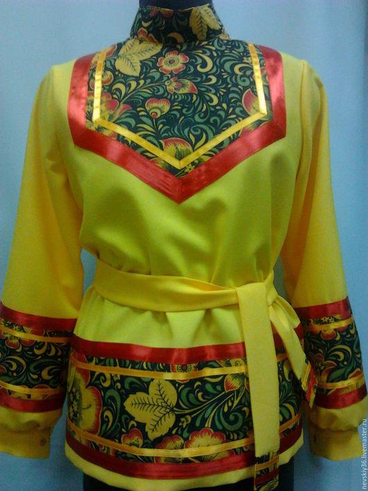 Одежда ручной работы. Ярмарка Мастеров - ручная работа. Купить рубаха русская жёлтая Хохлома. Handmade. Желтый, русские мотивы