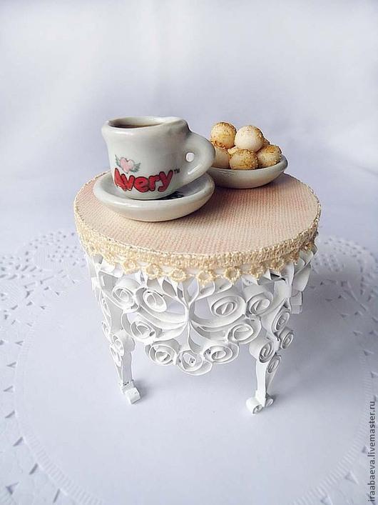 Кукольный дом ручной работы. Ярмарка Мастеров - ручная работа. Купить Кукольный столик Филигрань. Handmade. Белый, филигранный столик