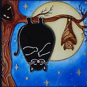 """Картины и панно ручной работы. Ярмарка Мастеров - ручная работа Витражная картина """"Здравствуй, я твоя мышка!"""" роспись по стеклу. Handmade."""