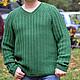Для мужчин, ручной работы. Мужской пуловер из резинки с косами. Knitted Sea. Ярмарка Мастеров. Пуловер с косами, пуловер