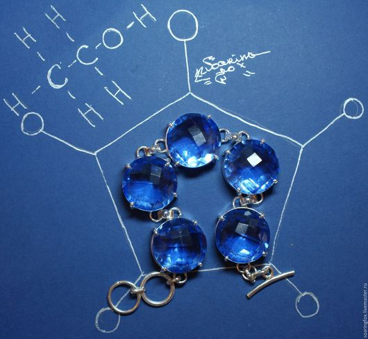 браслет с кварцем, голубой кварц, браслет с камнями, синий камень, браслет с синими камнями
