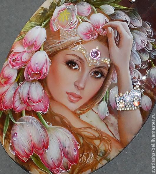 Кулоны, подвески ручной работы. Ярмарка Мастеров - ручная работа. Купить Королева Весна. Handmade. Разноцветный, живопись на камне