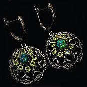 Украшения handmade. Livemaster - original item Handmade earrings in silver with black opals and chrysolites. Handmade.