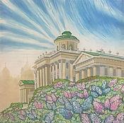 """Картины и панно handmade. Livemaster - original item Painting on silk """"Pashkov`s house. Spring"""". Handmade."""