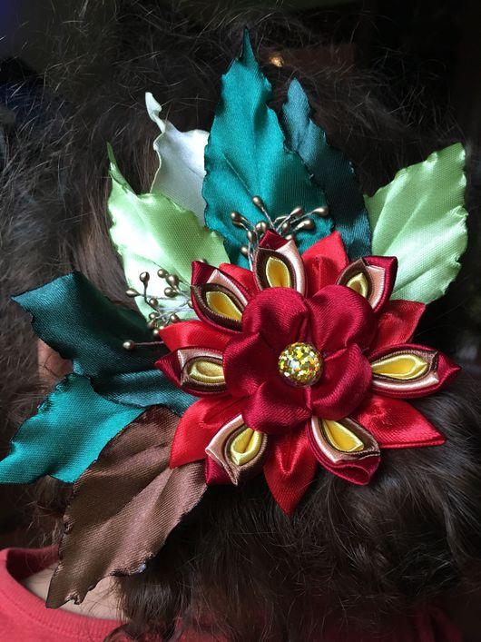 Заколки ручной работы. Ярмарка Мастеров - ручная работа. Купить Осенний цветок. Handmade. Ярко-красный, канзаши, резинка для волос