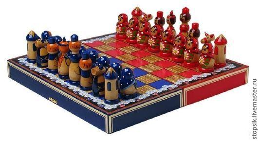 Настольные игры ручной работы. Ярмарка Мастеров - ручная работа. Купить Шахматы Ромашки (синие) (22162). Handmade. Шахматы