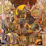 """Картины и панно ручной работы. Ярмарка Мастеров - ручная работа Батик """" Лунный город"""". Handmade."""