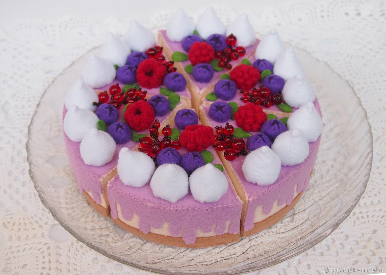 Торт из фетра игрушечный с ягодами, Кукольная еда, Пермь,  Фото №1