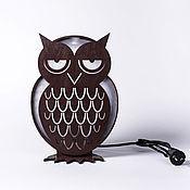 """Для дома и интерьера ручной работы. Ярмарка Мастеров - ручная работа Лампа деревянная """"Сова"""" коричневая. Handmade."""