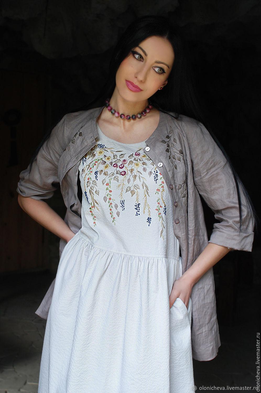 "Вышитый женский комплект - сарафан и льняная рубаха ""Серенада лета"", Sundresses, Vinnitsa,  Фото №1"