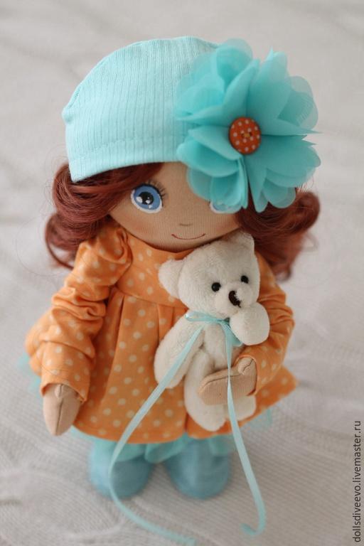 Коллекционные куклы ручной работы. Ярмарка Мастеров - ручная работа. Купить Апельсинка. Handmade. Оранжевый, ручная работа, трикотаж, замша