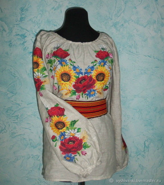 Этническая одежда ручной работы. Ярмарка Мастеров - ручная работа. Купить Украинская  вышиванка с яркими df2df534e6476