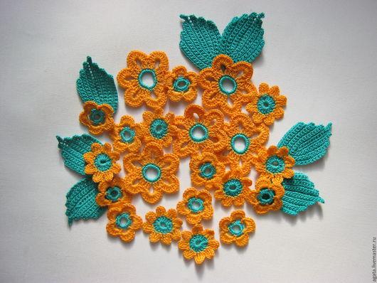 """Аппликации, вставки, отделка ручной работы. Ярмарка Мастеров - ручная работа. Купить Набор аппликаций """"Оранжевые цветы"""". Handmade. Однотонный"""