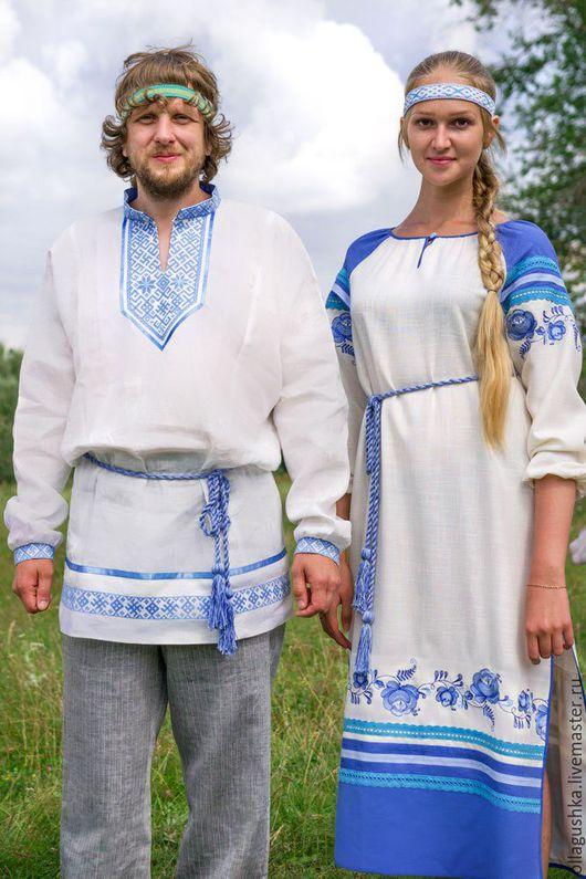 """Одежда ручной работы. Ярмарка Мастеров - ручная работа. Купить Платье славянское """"Любушка"""" с вышивкой под гжель. Handmade."""