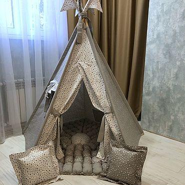 Для дома и интерьера ручной работы. Ярмарка Мастеров - ручная работа Пятисторонний вигвам с  ковром из бомбонов. Handmade.