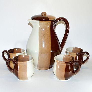 Посуда ручной работы. Ярмарка Мастеров - ручная работа Кувшин с чашками для напитков.. Handmade.