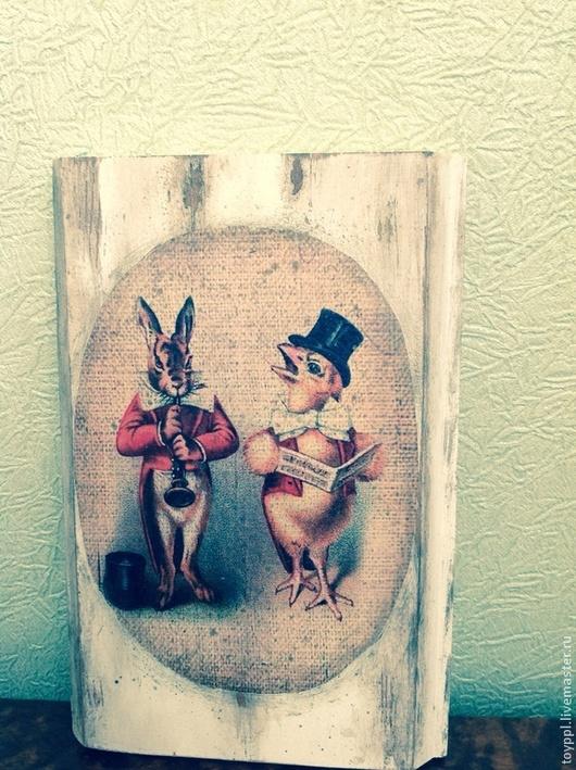 Животные ручной работы. Ярмарка Мастеров - ручная работа. Купить Панно. Handmade. Зеленый, Декупаж, шебби-шик, панно, маме