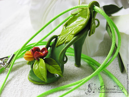 """Кулоны, подвески ручной работы. Ярмарка Мастеров - ручная работа. Купить Кулон """"Туфелька лесной феи"""". Handmade. Зеленый"""
