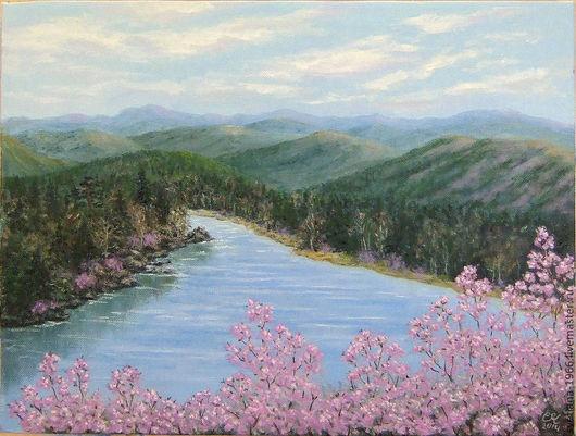 """Пейзаж ручной работы. Ярмарка Мастеров - ручная работа. Купить """"Весна в Забайкалье"""". Handmade. Картина маслом, пейзаж, сопки, природа"""