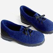 Обувь ручной работы. Ярмарка Мастеров - ручная работа Синие шерстяные туфли.. Handmade.