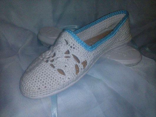 """Обувь ручной работы. Ярмарка Мастеров - ручная работа. Купить Балетки Ажурные"""" Снегурочка"""". Handmade. Обувь ручной работы, стелька"""